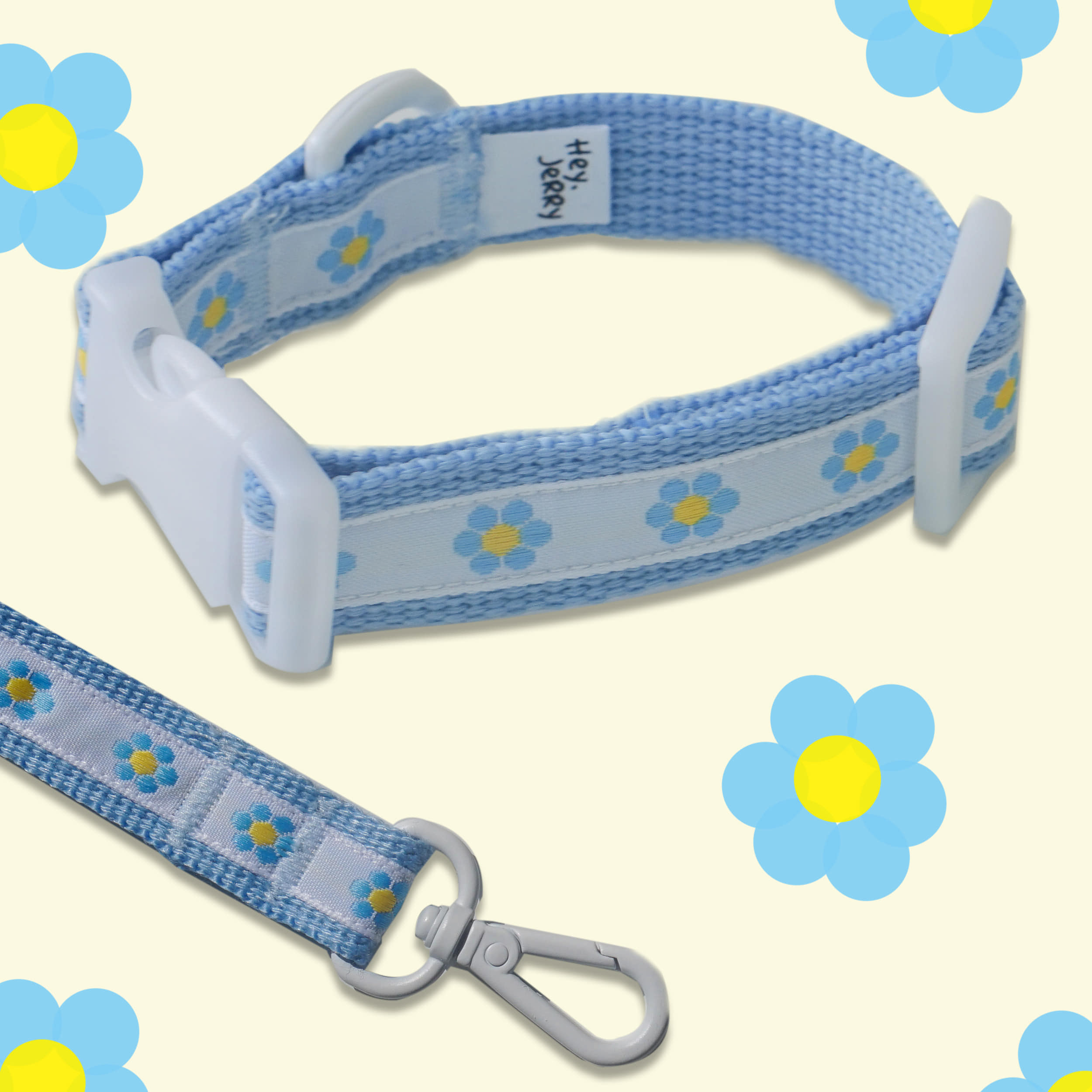 Baby Flower Collar / leash (Blue)