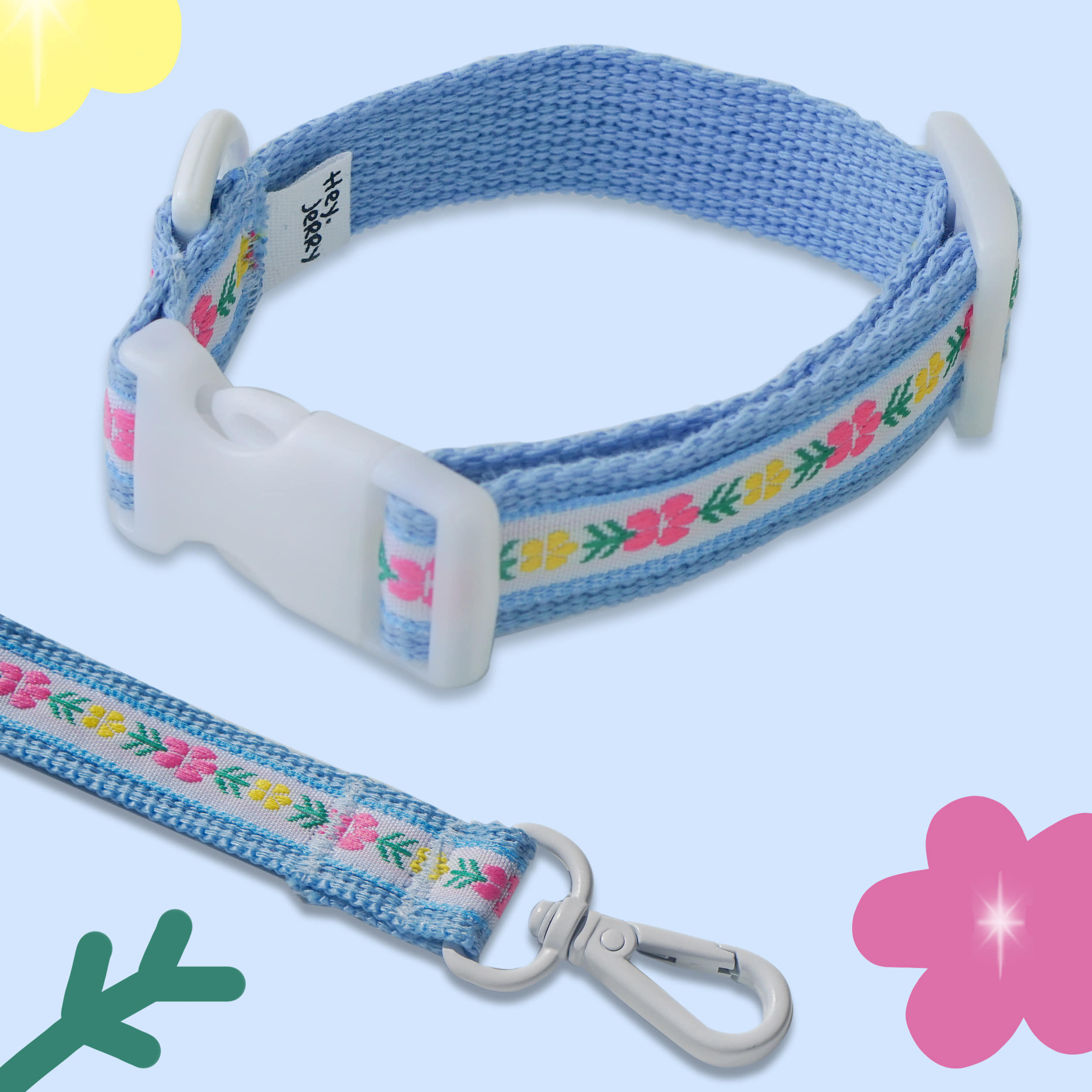Vintage Flower Collar / leash (Blue)